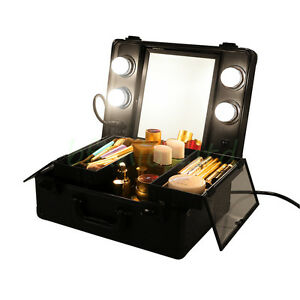 Mini 4 Led Lighted Tilt Mirror Makeup Artist Case Cosmetic Storage Box Suitcase Ebay