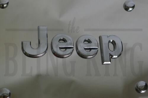 Jeep Chrome Emblem Badge License Plate Marque Tag with Chrome Screw Cap