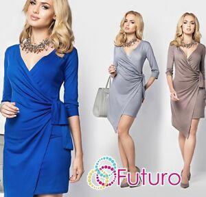 601666ff88e6 Image is loading Ladies-Cocktail-Asymmetric-Wrap-Dress-Slimming-Dress-Plus-