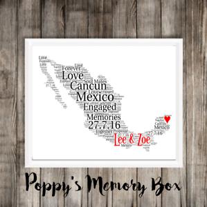 Anniversario Di Matrimonio Viaggio.Messico Mappa Word Art Su Misura Fidanzamento Anniversario Di
