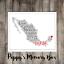 MEXIQUE Carte Word Art Bespoke Fiançailles Mariage Anniversaire Voyage Imprimé Cadeau