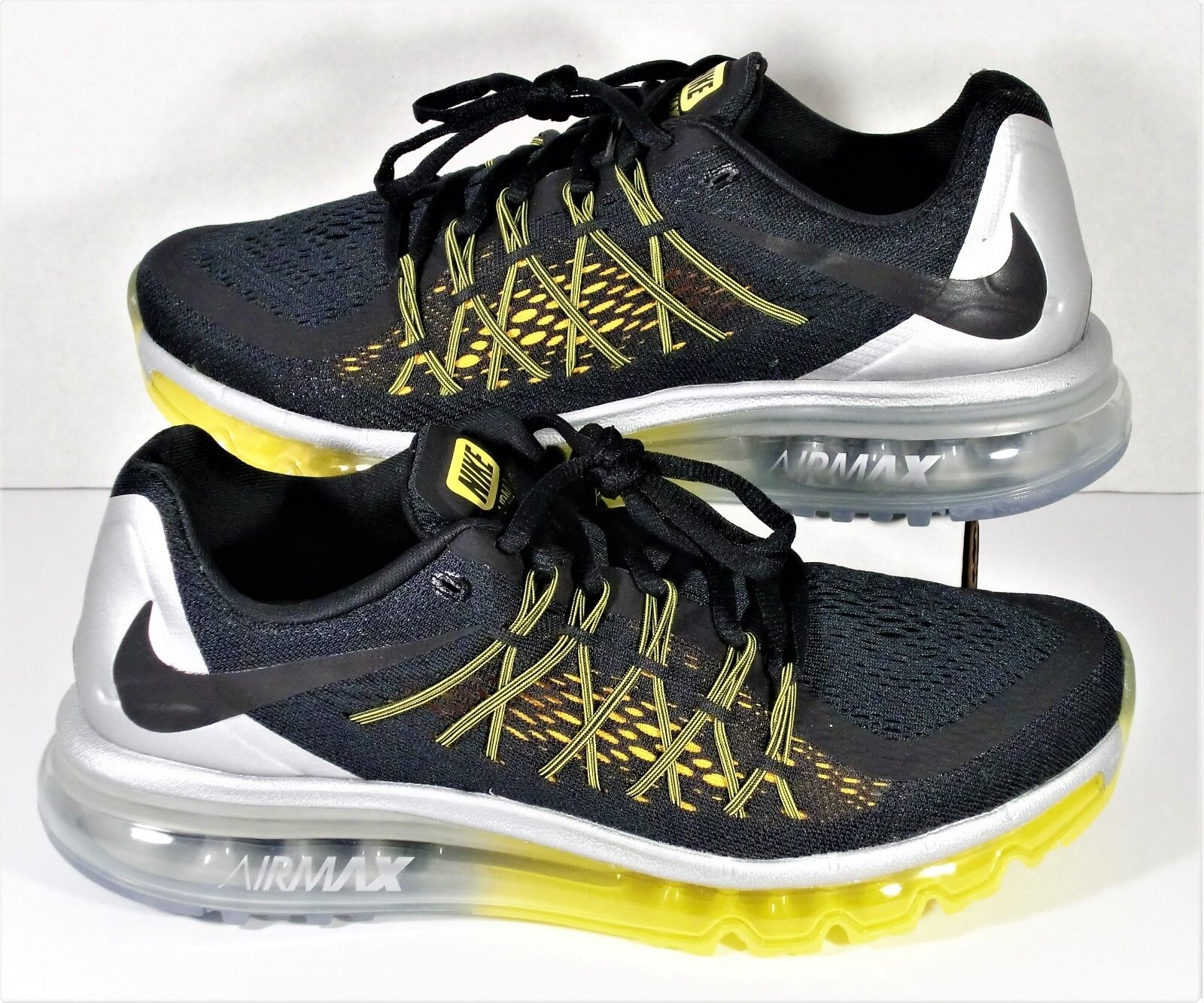Nike Air Max 2015 Black & Silver & Yellow Running shoes Sz 8.5 NEW 698902 070