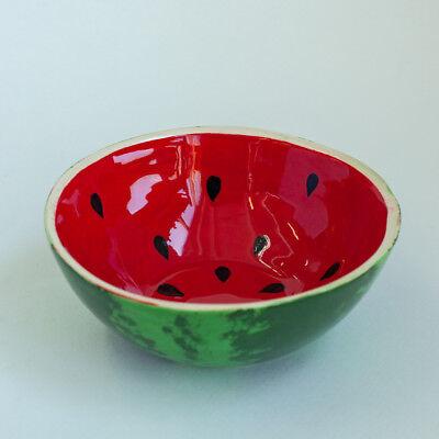 Green Red Ceramic Salad Bowl Watermelon Pattern Handmade Pottery