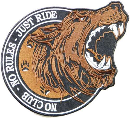 Large NO CLUB RULES RIDE Lone Wolf Biker Patch Iron on Sew T shirt Vest Jacket