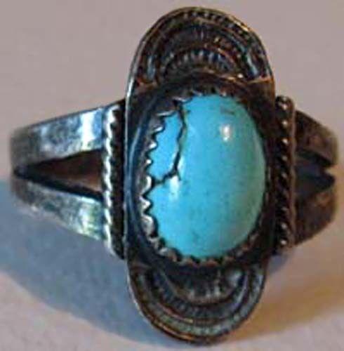100% Wahr Schön Vintage Navajo Indianer Türkis Silber Ring Um Der Bequemlichkeit Des Volkes Zu Entsprechen