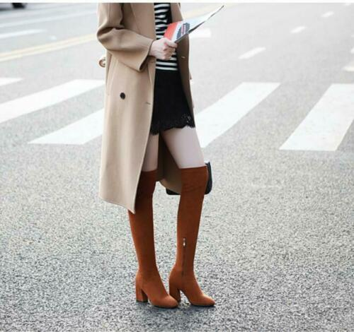 Details about  /Sexy Women Faux Suede Round Toe Strentchy Pull On Over Knee Boots Roman Boots