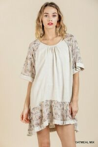 Umgee-Embroidered-Floral-Print-Bell-Sleeve-Dress