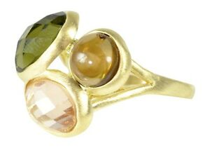 18K Gold Overlay Ring Three Jewel Tone Faceted Stones 1 Bezel Set