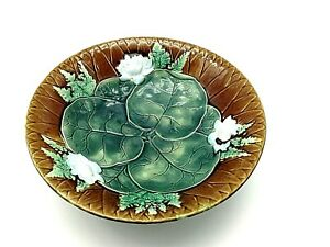 Rare-Antique-Victorian-Robert-Holdcroft-Majolica-water-Lily-Compote-1870-Signed