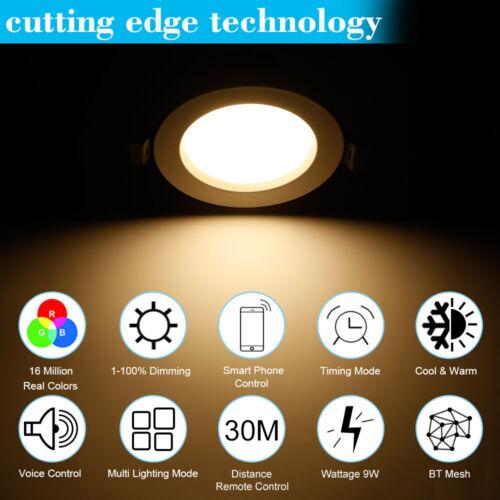 6X WIFI Bluetooth RGB+WW+CW Einbaustrahler LED Deckenspot Einbauleuchte Strahler