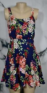 SOCIALITE Blue Floral Print Sleeveless Fit & Flare Small Lined Summer Party