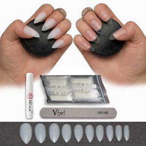 Image Is Loading 50 600 Stiletto Nails Short Medium Opaque Clear