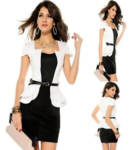 Sz-10-12-White-Black-Cap-Sleeve-Peplum-Sexy-Formal-Party-Cocktail-Slim-Fit-Dress