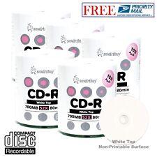 500 Pack Smartbuy 52X CD-R 700MB 80Min White Top Blank Media Disc Priority Mail