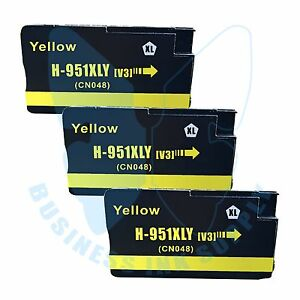 3-Yellow-951XL-Ink-cartridges-951XL-Y-For-HP-Officejet-8600-8100-with-NEW-CHIP