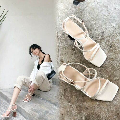 Womens Fashion Leather Design High Heel Crossover Ankle Strap Sandals Shoes SKGB