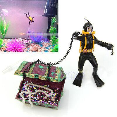 Hunter Treasure Figure Action Fish Diver Tank Ornament Aquarium Decor Landscape