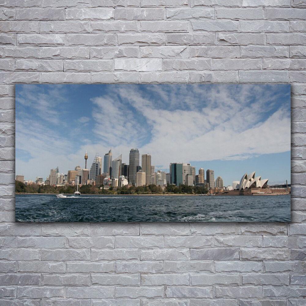 Impression sur verre Wall Art 120x60 Photo Image ville mer maisons