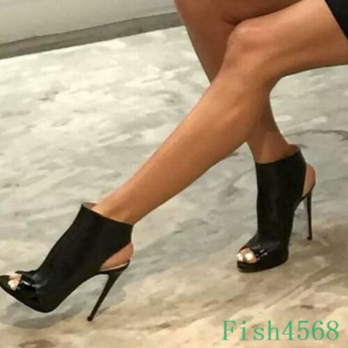 Fashion Womens Peep Toe Leather Pumps Super High Stiletto Heels Backless Shoes