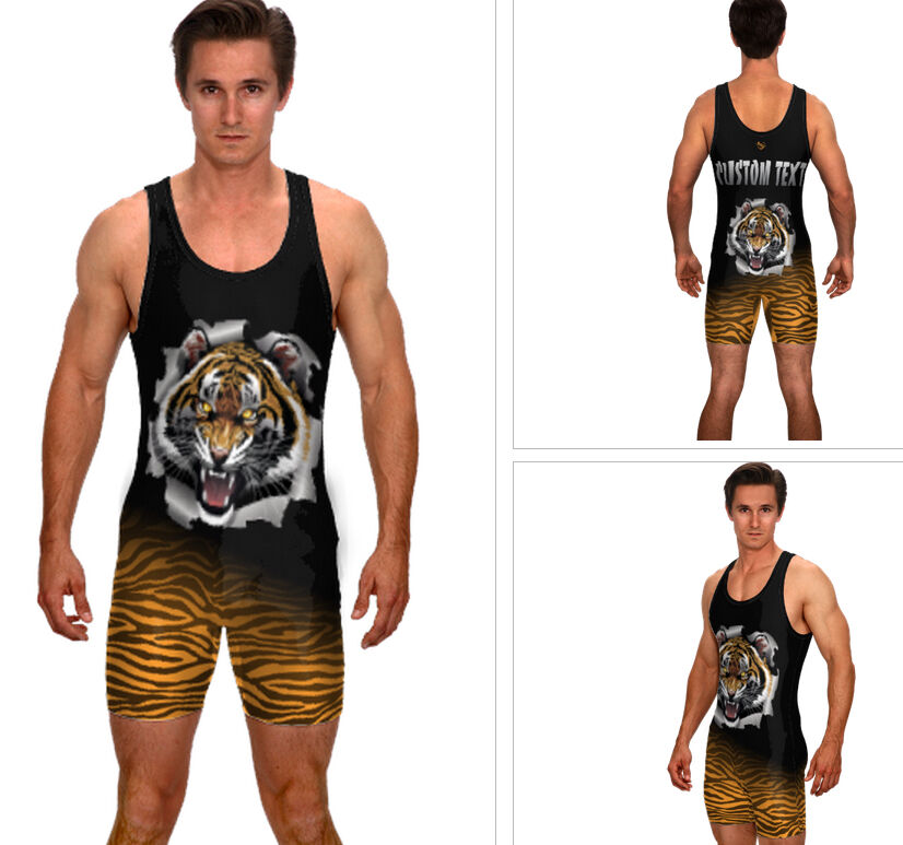 Tiger sublimated singlet, includes custom text, powerlifting, wrestling, mma