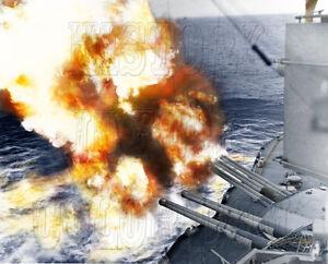Details about USS Nevada D-Day WWII WW2 Utah Beach Battleship gunfire color  photo 80-G-252412