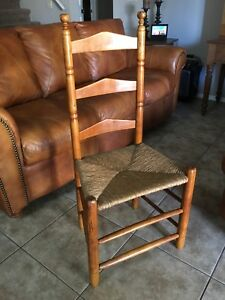 Image Is Loading Early AMERICAN Ladder Back Chair RUSH Seat MAPLE