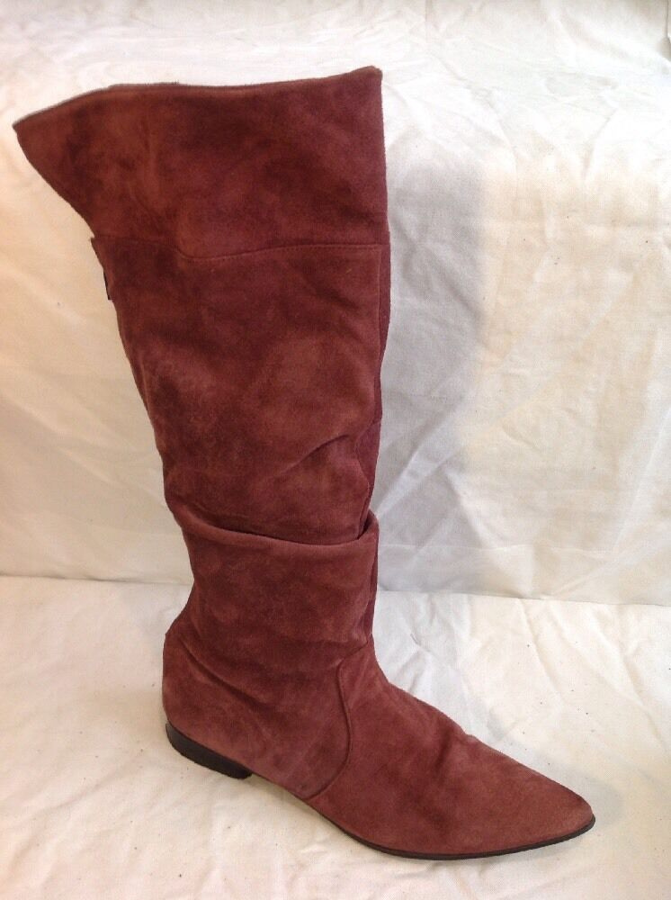Wallis Maroon Knee High Suede Boots Size 39