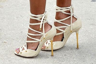 TOM FORD Black Snake Skin Lace-Up Sandals SZ 39 = US 8.5 - 9 - Worn Once