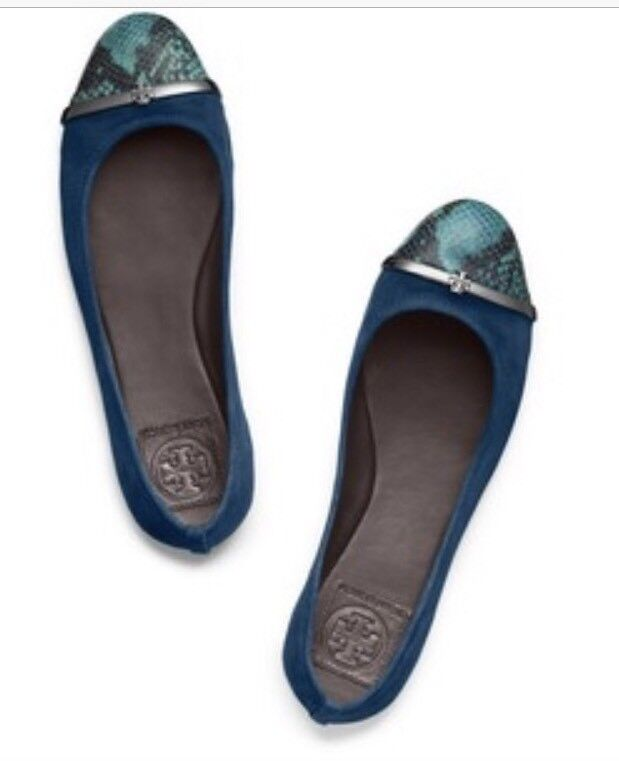 Tory Burch Suede Pacey Ballet Flat verde Cap-Toe In Snake-print Leather 7.5M #14