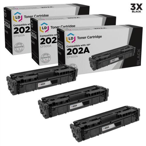 LD Compatible HP 202A CF500A Black Toner 3-Pack for use in M254dw /& M281dw