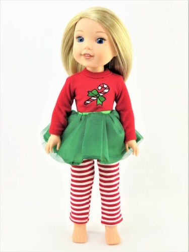 "Candy Cane Tutu Dress Leggings Fits Wellie Wishers 14.5/"" American Girl Clothes"