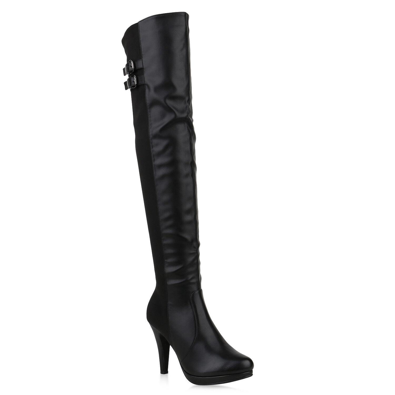 Damen Overknees Stiefel Leder-Optik Plateau Boots High Heels 820243 Schuhe