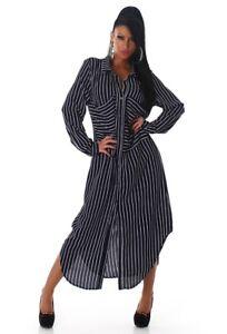 factory price 2fc52 7020d Dettagli su Elegante camicia lunga abito donna manica lunga Maxi Abito  camicione Casual