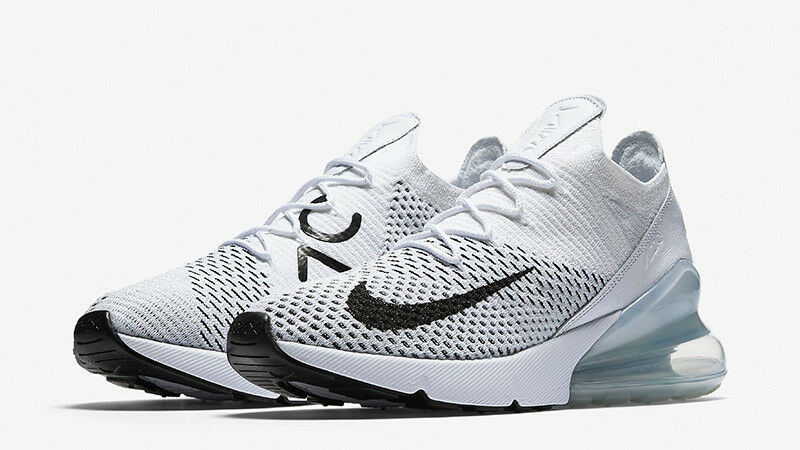 Women's Nike Air Max 270 Flyknit White Black shoes -Size 6 -AH6803 100 New