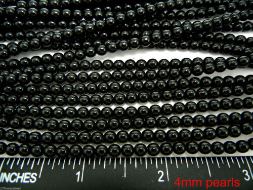 Czech Round Glass Imitation loose Pearls Black Night nacre pearl color