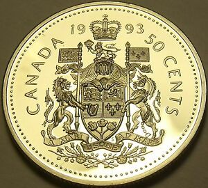 Coins & Paper Money Logical Cameo Proof Canada 1993 50 Cents~excellent~143,065 Minted