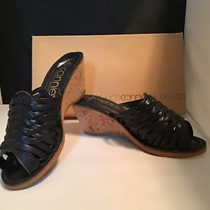 Connie BLACK Slip On Wedge Sandals SLIDES Open Toe Size 6, NEW OLD STOCK 1990's