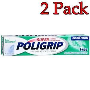 POLIGRIP Super Denture Adhesive Cream, Free, 2.4oz, 2 Pack 310158062042A417