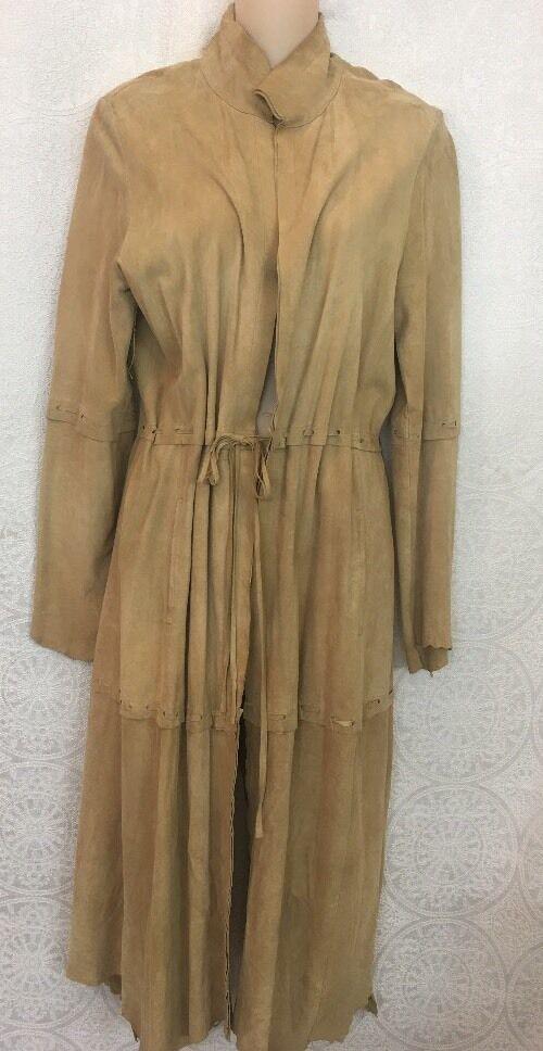 Atos Lombardini Suede Coat Thin  Leather Light Tan Size 46 Medium