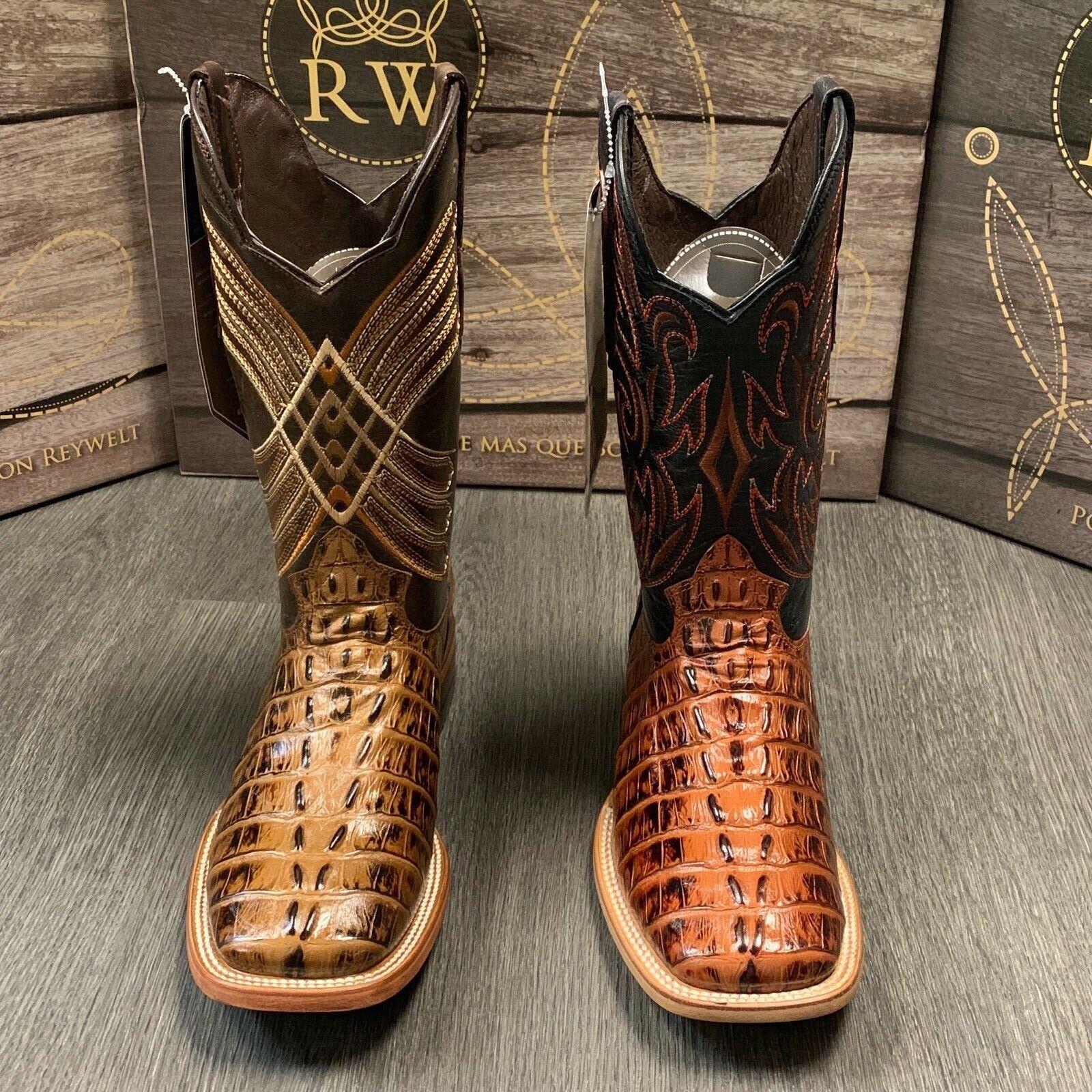 Team West Mens Cognac Teju Lizard Print Leather Cowboy Boots