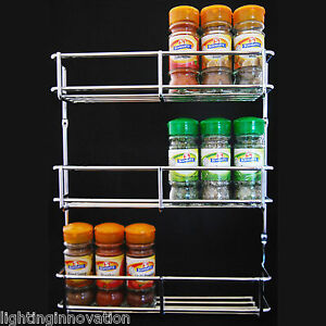 SPICE-RACK-HERB-JAR-HOLDER-300MM-CHROME-3-TIER-KITCHEN-CABINET-DOOR-HEAVY-DUTY