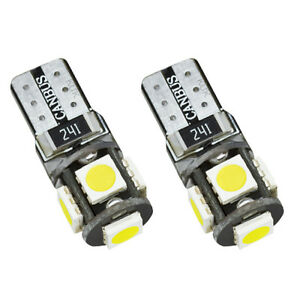 2-Canbus-LED-Xenon-Optik-Lampen-weiss-T10-w5w-5-SMD-Birnen-Innenraumbeleuchtung