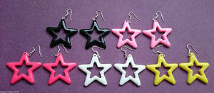 FUNKY-80s-STAR-EARRINGS-DISCO-BRIGHT-STARS-PLASTIC-EMO-GOTH-DANGLY-PUNK-COOL-FUN