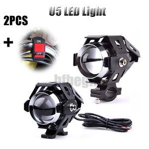 2xU5-125W-LED-Motorrad-ATV-Scheinwerfer-Zusatzscheinwerfer-Licht-Lampen-Schalter