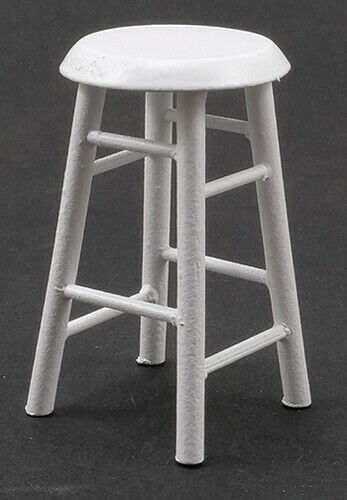 Dollhouse Miniatures 1:12 Scale Bar Stool White #CLA10591 2 In