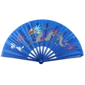 2X-Plastic-Frame-Dragon-Printed-Sports-Folding-Hand-Fan-Royal-Blue-U9M6