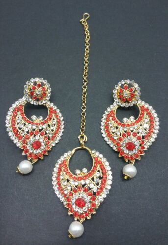 New Small bollywood Elegant earrings and tikka in  red costume jewellery