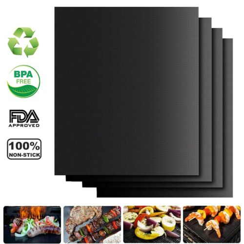 BBQ Grill Mat FDA Approved PFOA FREE Heavy-Duty Non-Stick Reusable Set of 2//4//6