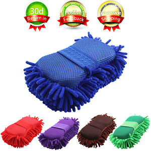 Car-Auto-Hand-Wash-Towel-Microfiber-Washing-Gloves-Coral-Sponge-Cleaning-Tool