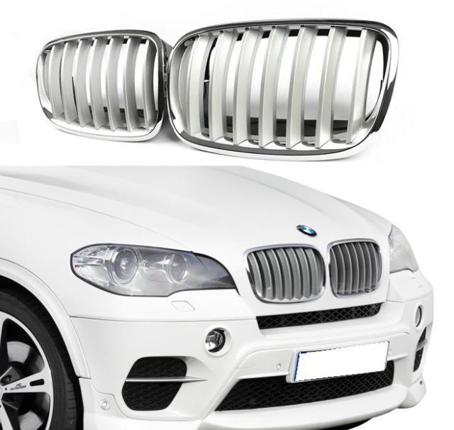 BMW X5 E70 GRILLE KIDNEY CHROME BLACK FRONT LEFT /& RIGHT SIDE 2006-2010